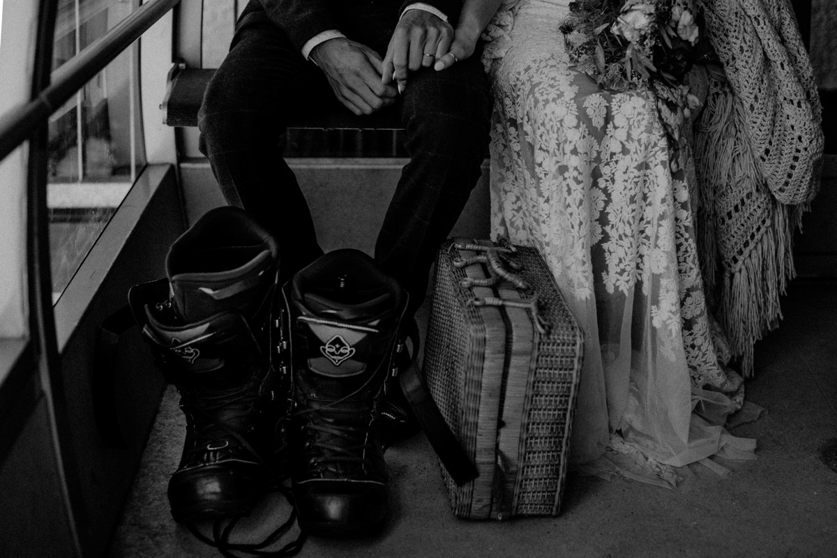 Snowboarder mountain wedding